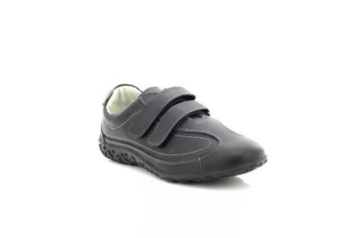 Boulevard L924A Black Leather Extra Wide EEE Fitting Trainer Shoes