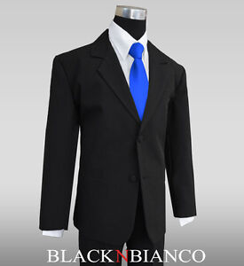 3ad3de5683e Formal Boy 3 Piece Black Suit with a Royal Blue Long Neck Tie All ...