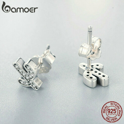 BAMOER Solid S925 Sterling silver Earring With Pave CZ Fresh cactus For Women