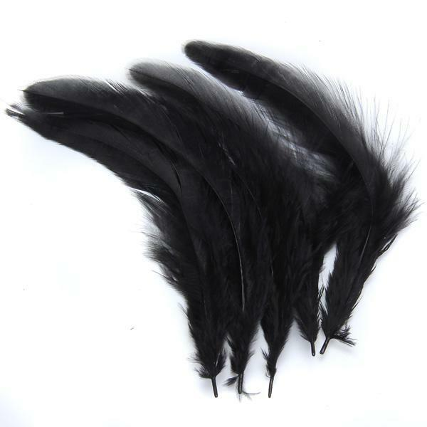 25Pairs Black Dyed Rooster Feather Wedding Clothing Decoration for Craft DIY