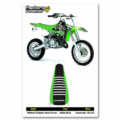 Enjoy MFG Ribbed Seat Cover for Kawasaki KLX 110 Black Sides//Green Top//Black Ribs