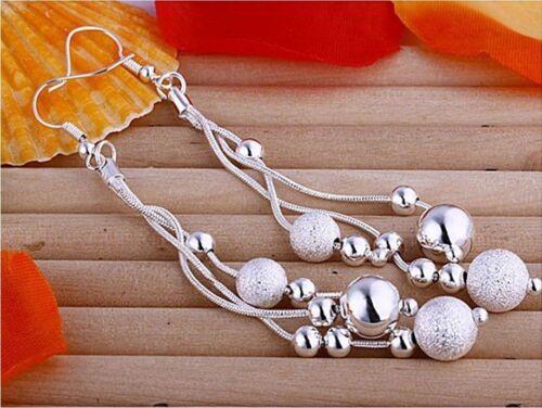 Estupendos colgadores pendientes plata chapados 3 hebras con pequeñas balas