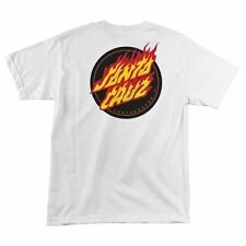 Santa Cruz FLAMING DOT Skateboard T Shirt WHITE XL
