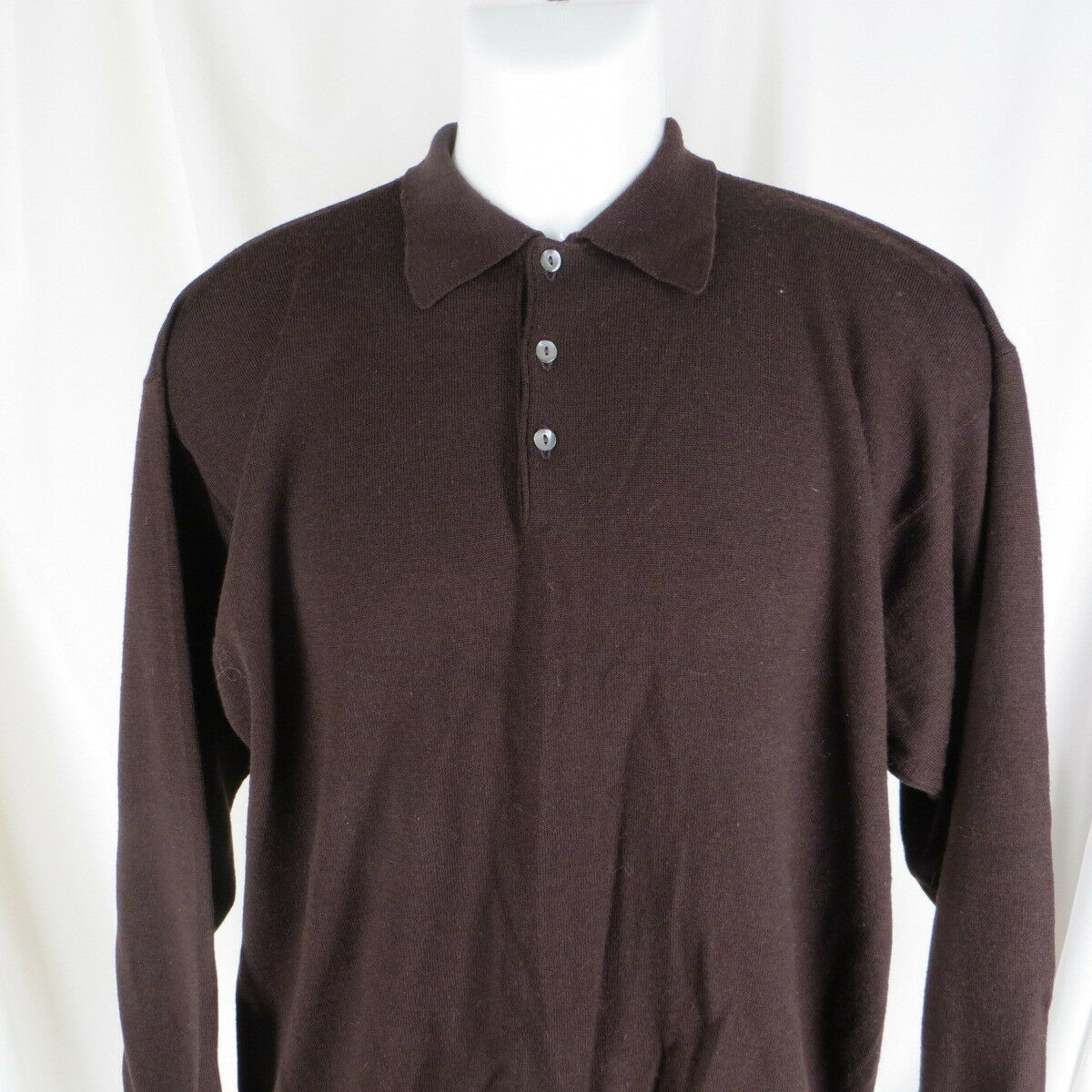 Vintage L Merino Sweater Neiman Marcus Made in Scotland Polo Collar Dark Braun