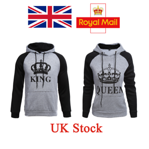 207eb91fc19 Image is loading UK-Couple-King-Queen-Hoodie-Matching-Sweatshirt-Jumper-