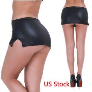 US-Women-Wetlook-Skirt-G-string-Micro-Dress-Pencil-Bodycon-Nightwear-G-string