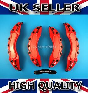 MERCEDES-BRAKE-CALIPER-COVERS-SET-KIT-FRONT-amp-REAR-RED-ABS-4PCS-AMG-STICKER
