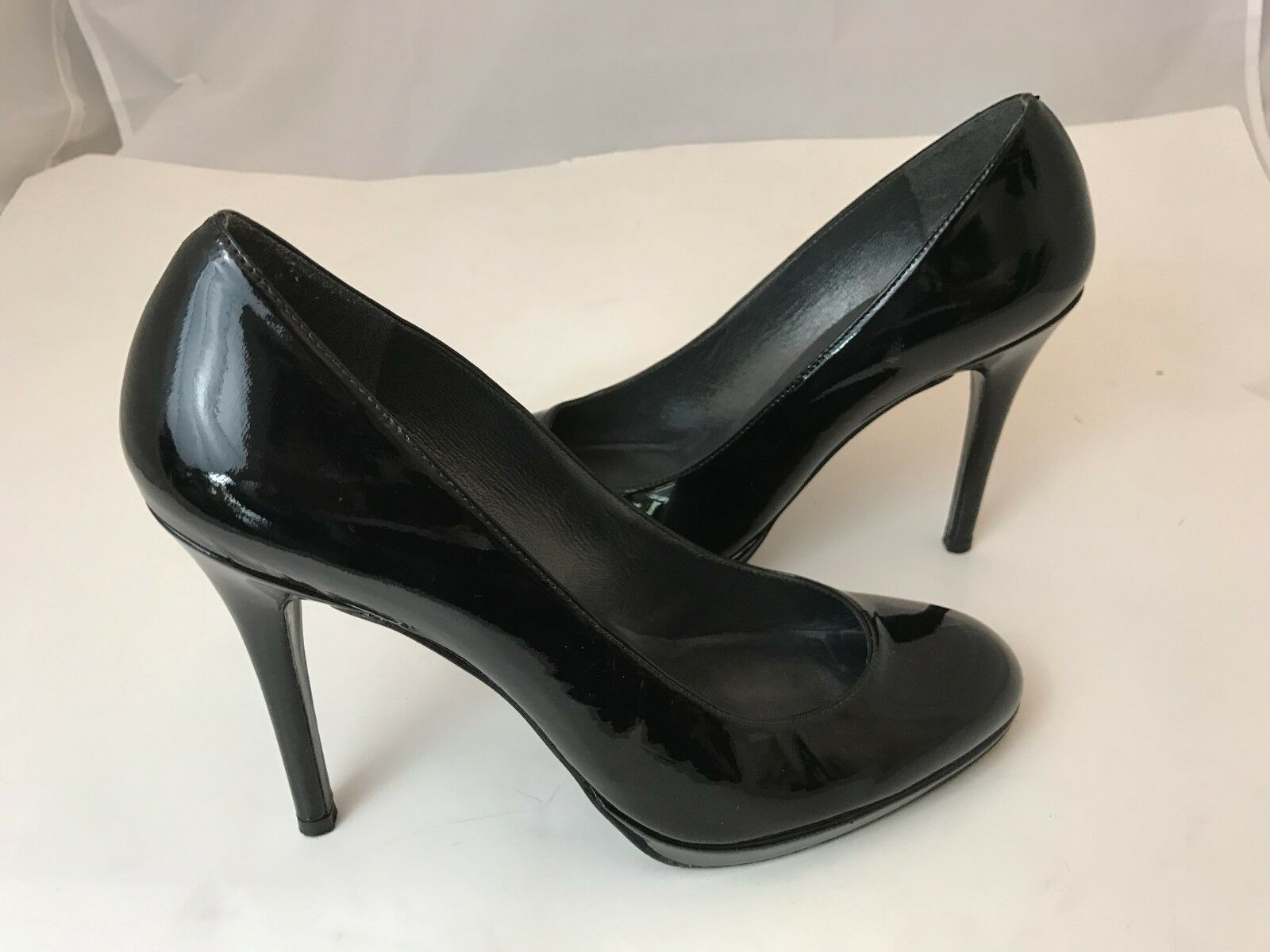 STUART WEITZMAN 117517 nero PATENT LEATHER PLATFORM PUMPS HEEL SZ 9M