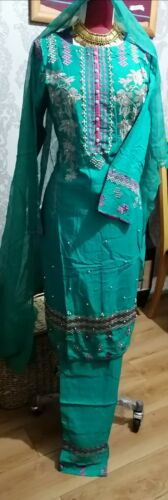 Leelam Linen Embroidered shalwar kameez sea green large luxury linen readymade