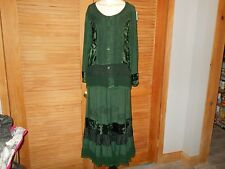 2 pc Skirt Top Dark Green Renaissance Medieval Mixed Fabric Tiered One Size 3662