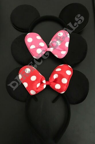 3 pcs Minnie Mickey Mouse Headband Black Pink Red Polka Dot Bow Plush Ears Party