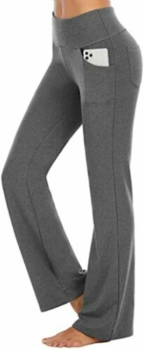 Details about  /Womens Foldover Yoga Pants High Waist Bootcut Gym Leggings Flare Wide Trousers K