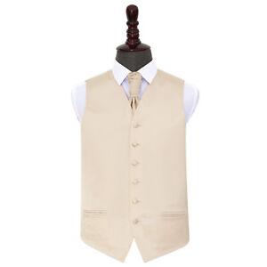 DQT-Satin-Plain-Solid-Champagne-Mens-Wedding-Waistcoat-amp-Cravat-Set
