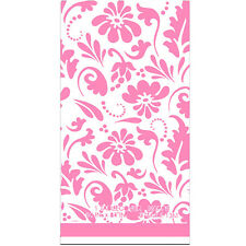 PINK PAISLEY FLOWERS PLASTIC TABLE COVER ~ Birthday Party Supplies Decorations