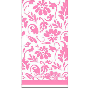 Pink Paisley Flowers Plastic Table Cover Birthday Party Supplies