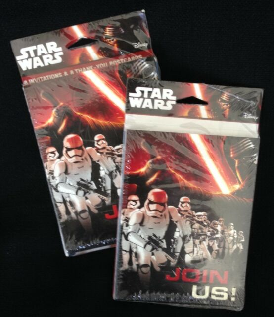 Star Wars Join Us Birthday Party 16 Invitations Envelopes Thank You Postcards