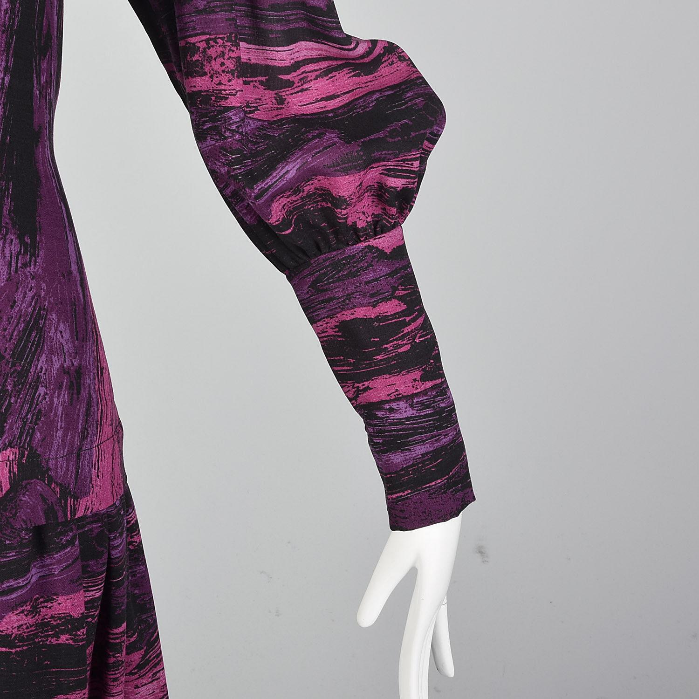 Medium Pauline Trigere 1980s Drop Waist Dress Vin… - image 9