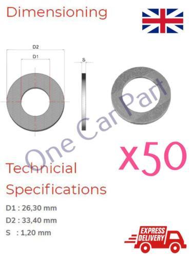 50 x M26 Metric Aluminium Washers Flat Rings General Purpose DIY Industrial
