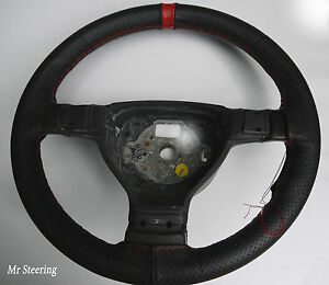 FOR-HYUNDAI-i30-BLACK-PERFORATED-LEATHER-STEERING-WHEEL-COVER-RED-STRAP-07-11