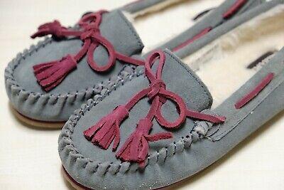 Clarks Grigio In Pelle Scamosciata Riscaldato Pantofole Mis 4/37 D-