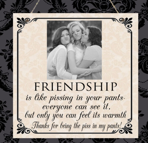 Personalised PHOTO Plaque Friendship Best Friend Thank you Pants Birthday Gift