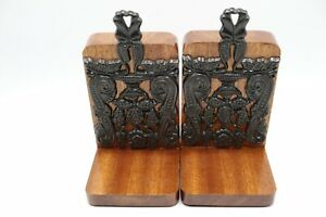 ANTIQUE-PAIR-ARTS-amp-CRAFTS-OAK-WOOD-amp-CAST-IRON-ASYMMETRICAL-BOOKENDS