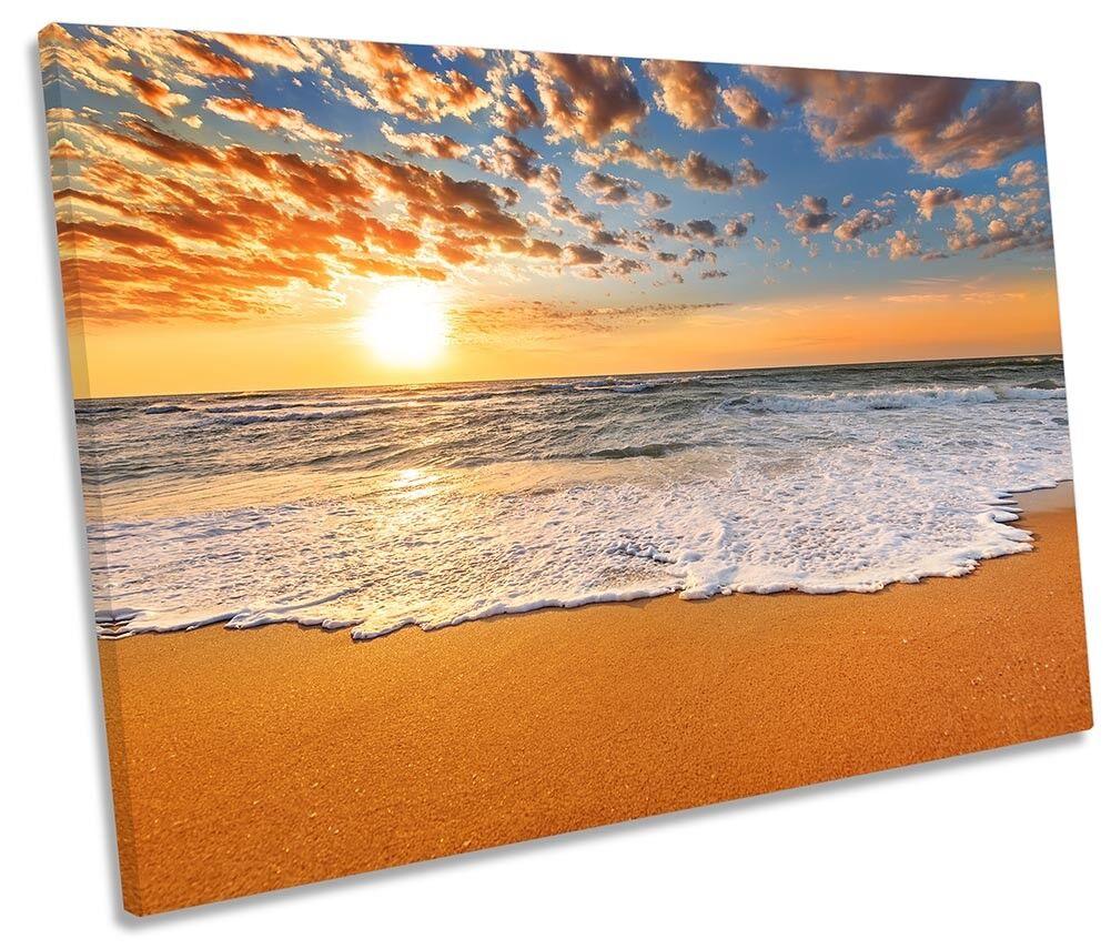 BEACH SUNSET FLORA incorniciato Tela Singola Stampa Wall Art