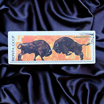 "CCCP Russia Bison Buffalo 4/""x1.5/"" Retro Stamp style Luggage Label Sticker"