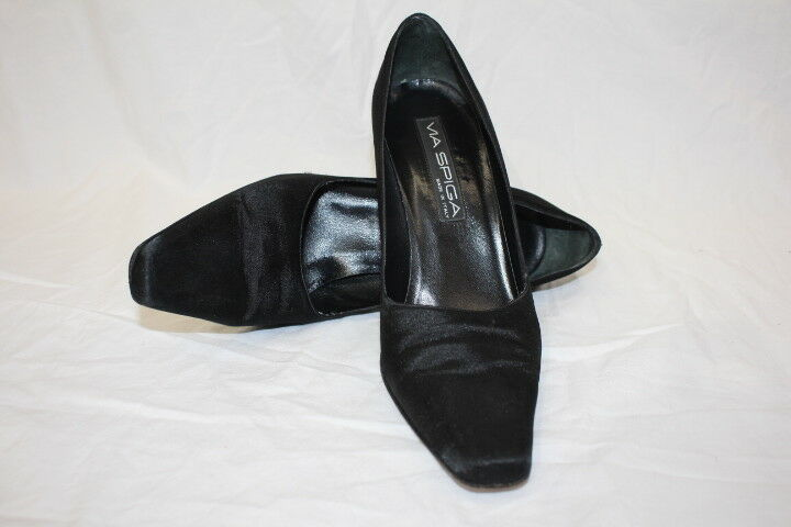 VIA SPIGA Black Satin Square Toe Pumps W/Sparkle Heels Womens 8.5M/46 Italy-B124
