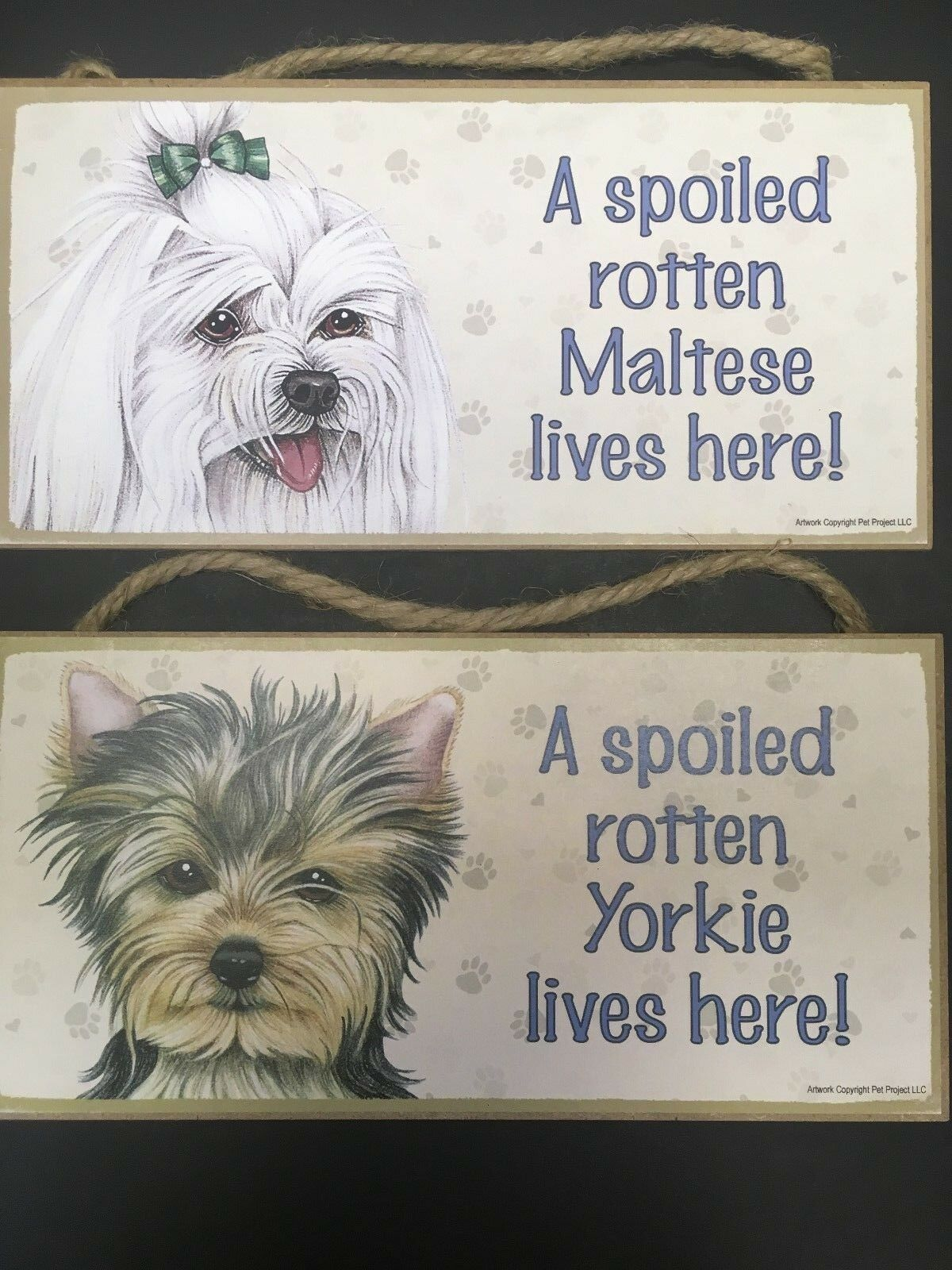 A Spoiled Rotten Yorkie Lives Here Dog Sign w// Clear Photo Pocket
