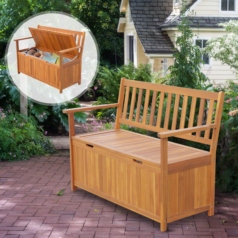 47 Wooden Outdoor Storage Bench Patio