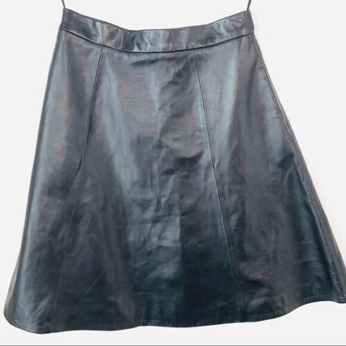 Adam Lippes A Line Black Leather Skirt