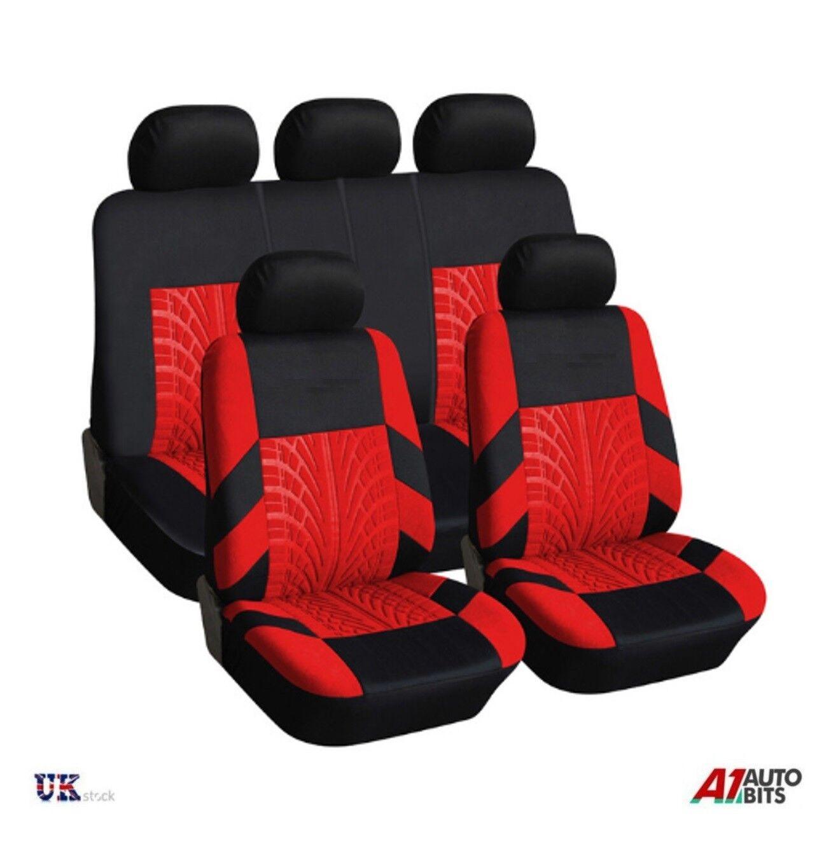UNIVERSAL CAR SEAT LIGHT COVER SET (9 darab) Vörös mosható & amp;Légzsák kompatibilis