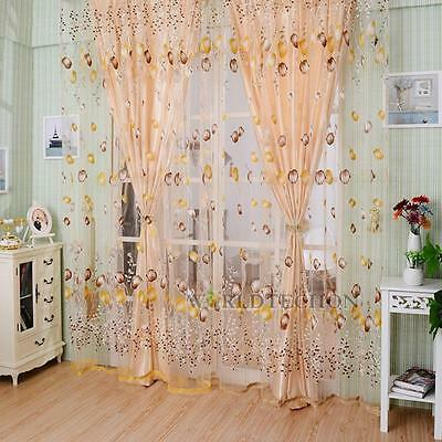 3 colors Floral Door Room Window Scarf Sheer Curtain Drape Panel Voile Valances