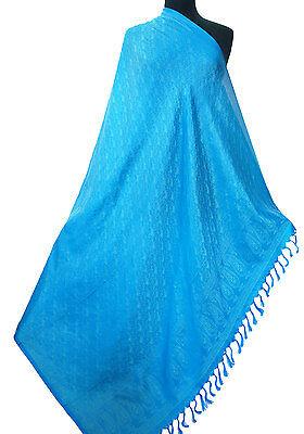 "Title:Large Turquise 100% Silk Shawl Light Pashmina Scarf Paisely 45""x69"""