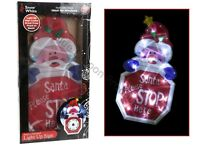 Large Light Up Led Window Santa Stop Here Sign Battery Operated Decoration Xmas