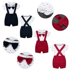 8cd3b56b4bbed Details about Infant Baby Boys Short Sleeve Outfit Lapel Bowtie Romper  Suspender Shorts Set