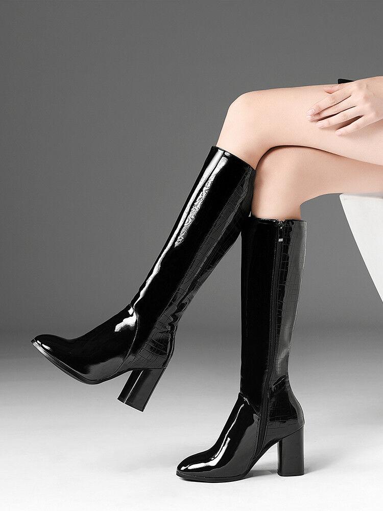 Para Mujer y Dama de Moda de patente cremalleras Bloque Tacón Alto la Rodilla botas Altas Zapatos ssmk