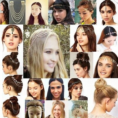 Womens Chic Metal Rhinestone Head Chain Jewelry Headband Head Piece Hair band HG