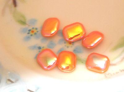 #485D Vintage Glass Cabochons Cabs Orange Destash OLD Unique Octagon Iridescent