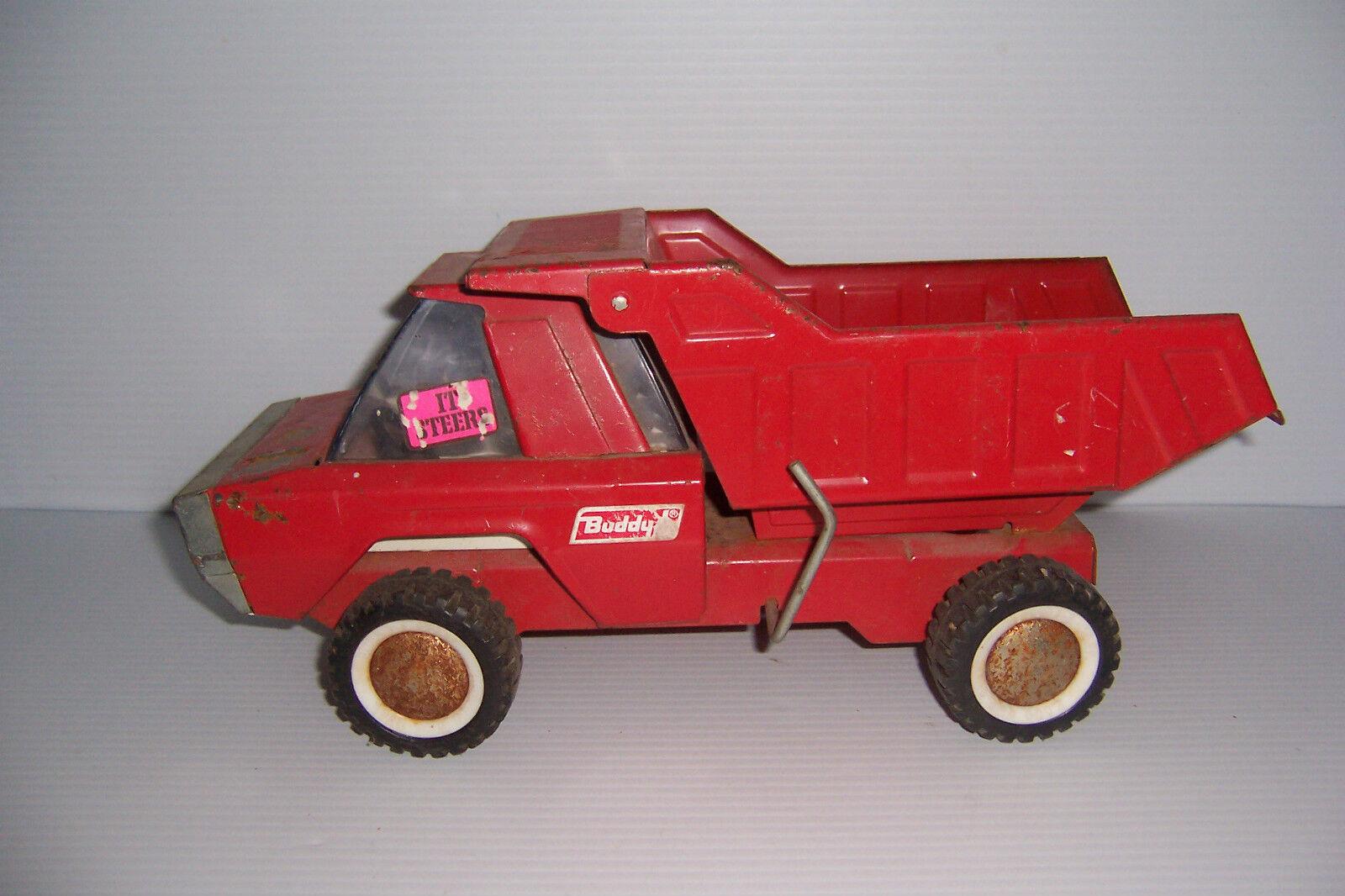 Vintage rosso Buddy L Husky Volquete volante Camión Camión de juguete de acero prensado