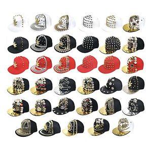 Bboy Hip Hop Cap Bling Decorated Flat Peak Gangster Snapback Hat ... b42061315127