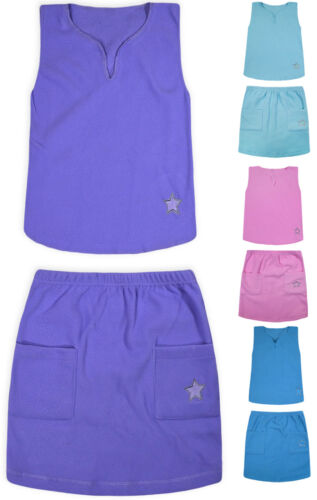 Girls New Sleeveless Top Skirt Set 2PSC Kids Plain Summer Outfit Age 2 3 4 5 6 Y