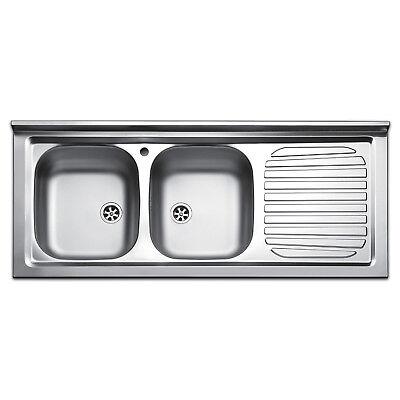 Lavello da appoggio lavandino per cucina in acciaio inox da 120 cm +  scolapiatti | eBay
