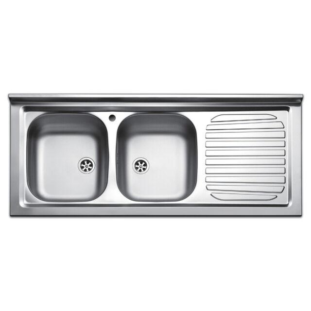 Apell Pisa 120 cm Lavello Cucina 2 Vasche da Appoggio - Inox (PI120RPC)