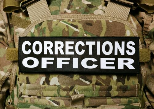 """3x10/"""" Corrections Officer Black White Hook Back Placard Patch for Plate Carrier"""