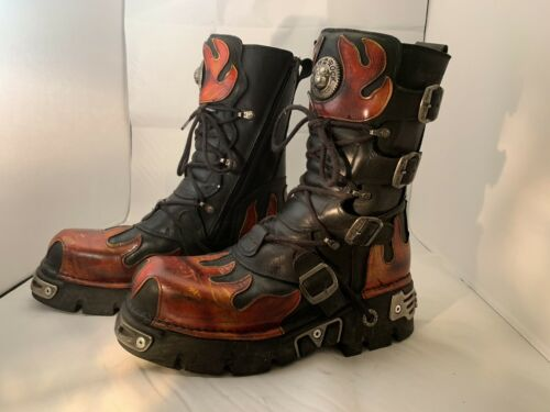 New Rock Reactor Flame Tall Men's Boots Size 10 1/