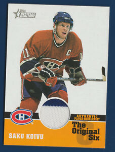 SAKU-KOIVU-00-01-TOPPS-HERITAGE-2000-01-THE-ORIGINAL-SIX-GAME-JERSEY-2-COL-16708