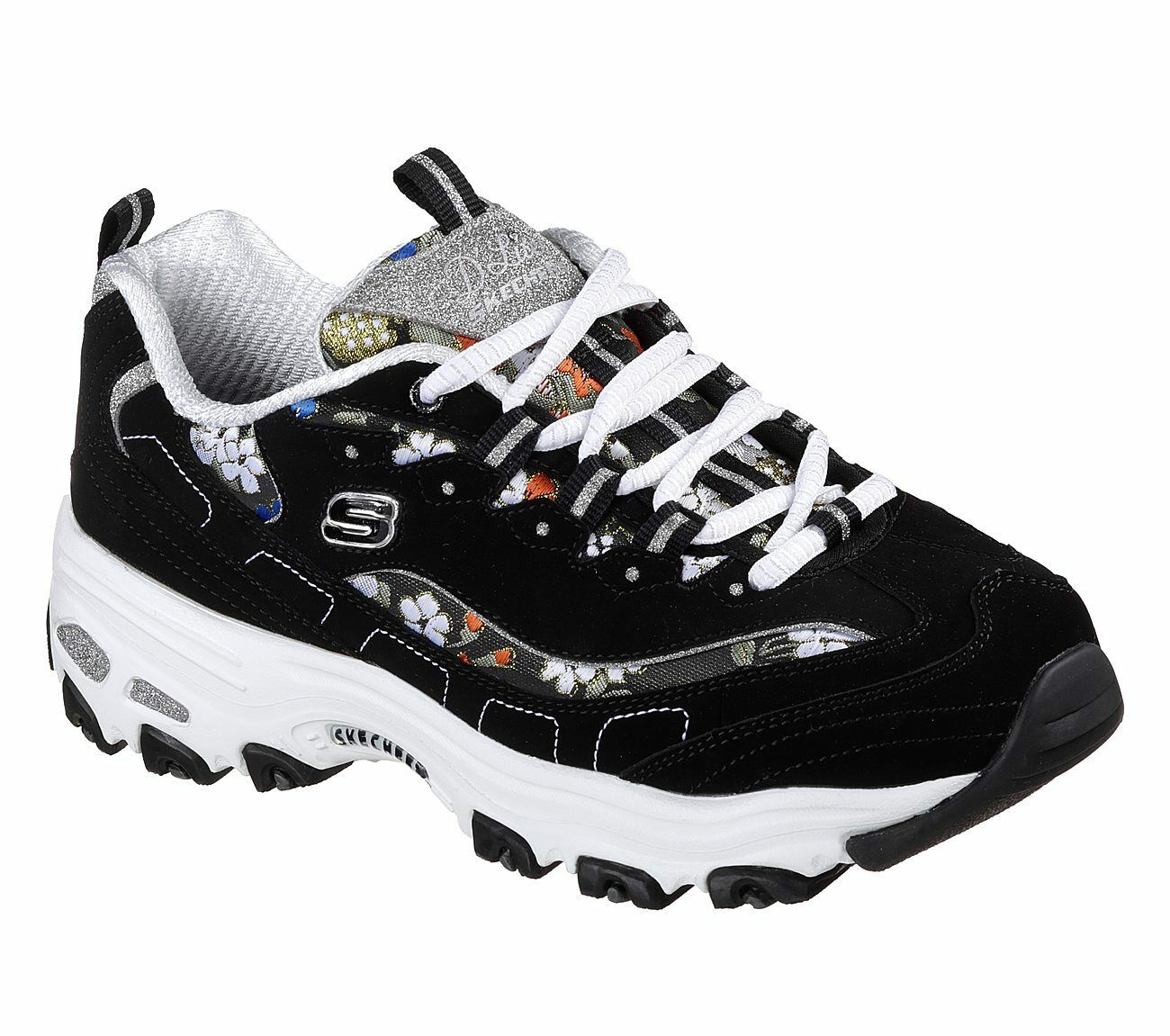 NEU NEU NEU SKECHERS Damen Sneakers D'LITES-FLORAL DAYS Schwarz 7fcc90