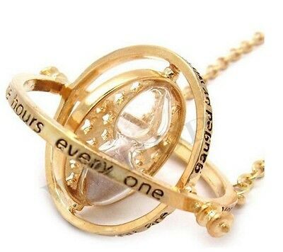 HP Time Turner Necklace Hermione Granger Rotating Spins Gold Hourglass